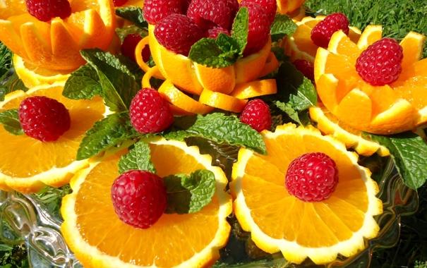 Сочетание малины с мандарином в компоте